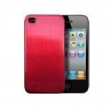 Vue portée de Coque Ultra-Fine 0,3 mm métal brossé Acero iPhone 4/4S Rouge
