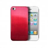 Zoom sur Coque Ultra-Fine 0,3 mm métal brossé Acero iPhone 4/4S Rouge