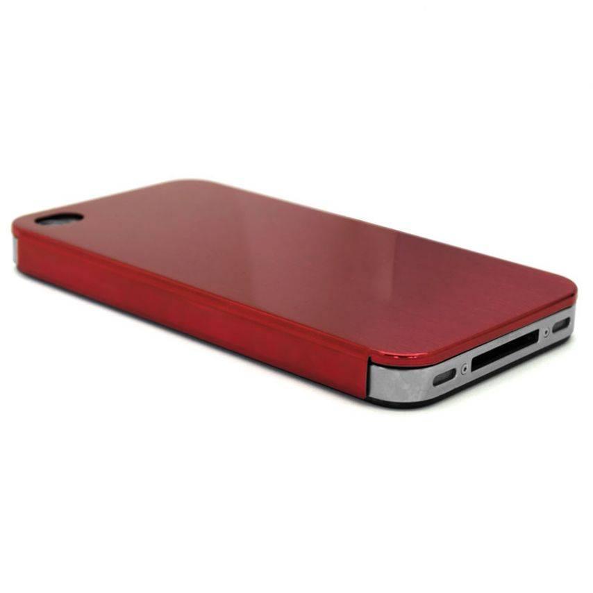 Vue complémentaire de Coque Ultra-Fine 0,3 mm métal brossé Acero iPhone 4/4S Rouge
