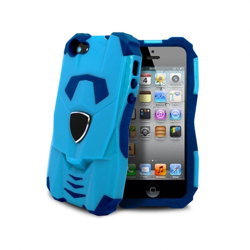 Visuel supplémentaire de Coque Design Transformer Bi Matière iphone 5 Bleue