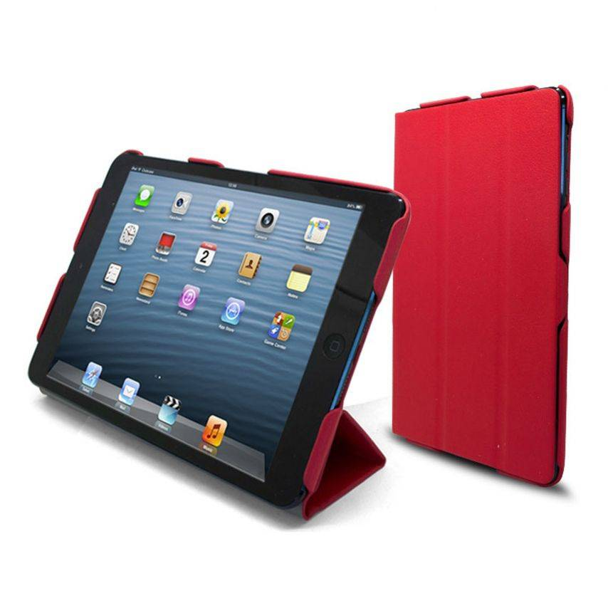 Vue complémentaire de Coque Ultra légère Smart Cover Stand iPad Mini Rouge