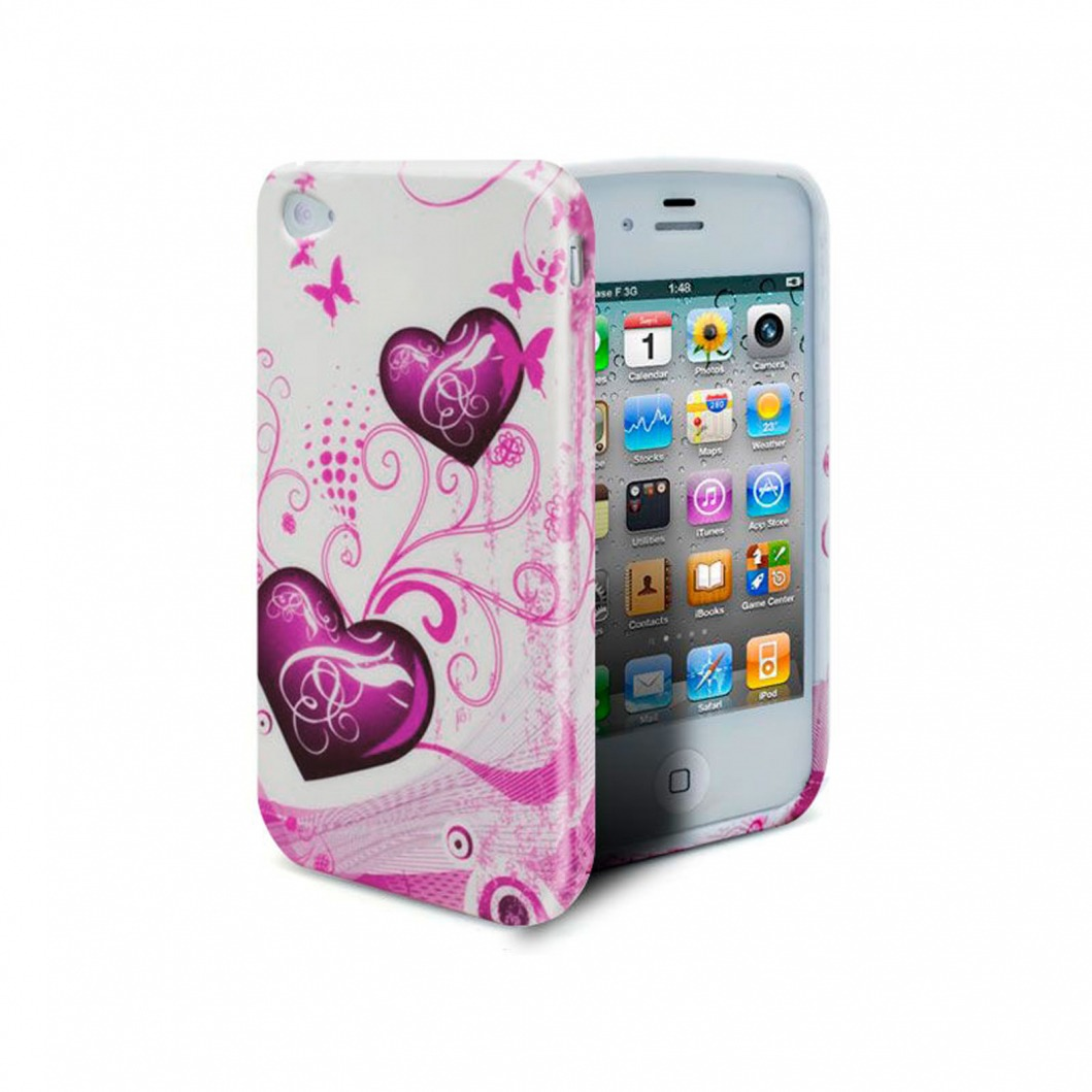 coque iphone 4s 4 hearts abstraction rose. Black Bedroom Furniture Sets. Home Design Ideas