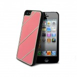 Visuel unique de Coque iPhone 5 Leather Stripes Chrome & Cuir Rose