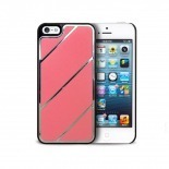 Visuel supplémentaire de Coque iPhone 5 Leather Stripes Chrome & Cuir Rose