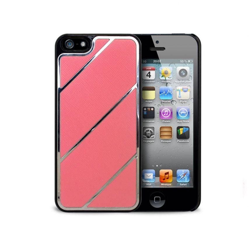Vue complémentaire de Coque iPhone 5 Leather Stripes Chrome & Cuir Rose