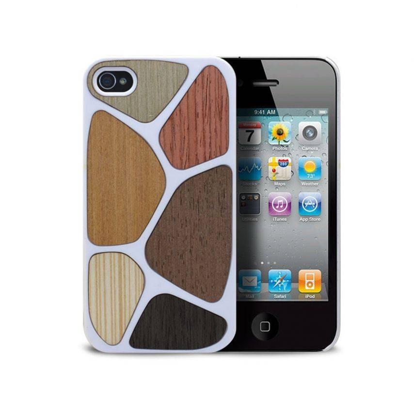 Vue complémentaire de Coque Bagheera Patchwork Blanche pour iPhone 4/4s