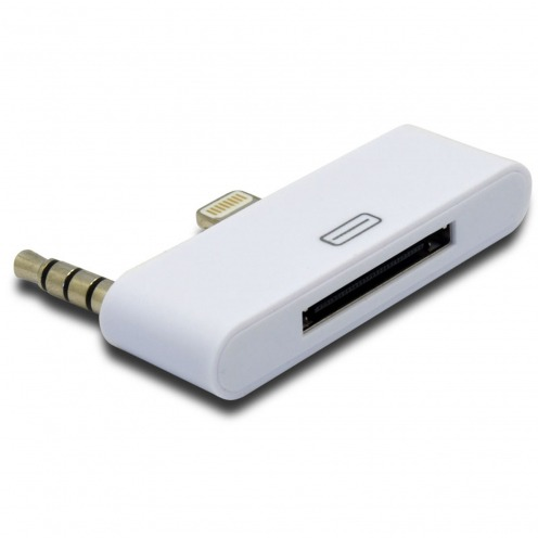 Visuel unique de Adaptateur Audio 30 Broches vers 8 pins Blanc Compatible iPhone 5 - iPad Mini - iPad Rétina