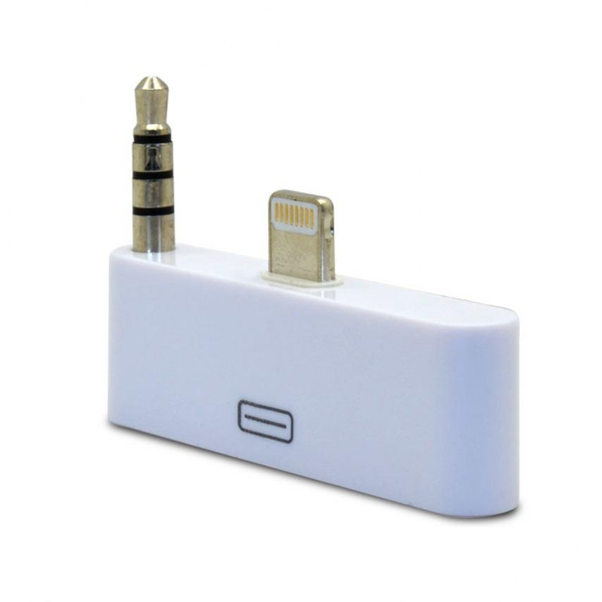 Visuel supplémentaire de Adaptateur Audio 30 Broches vers 8 pins Blanc Compatible iPhone 5 - iPad Mini - iPad Rétina