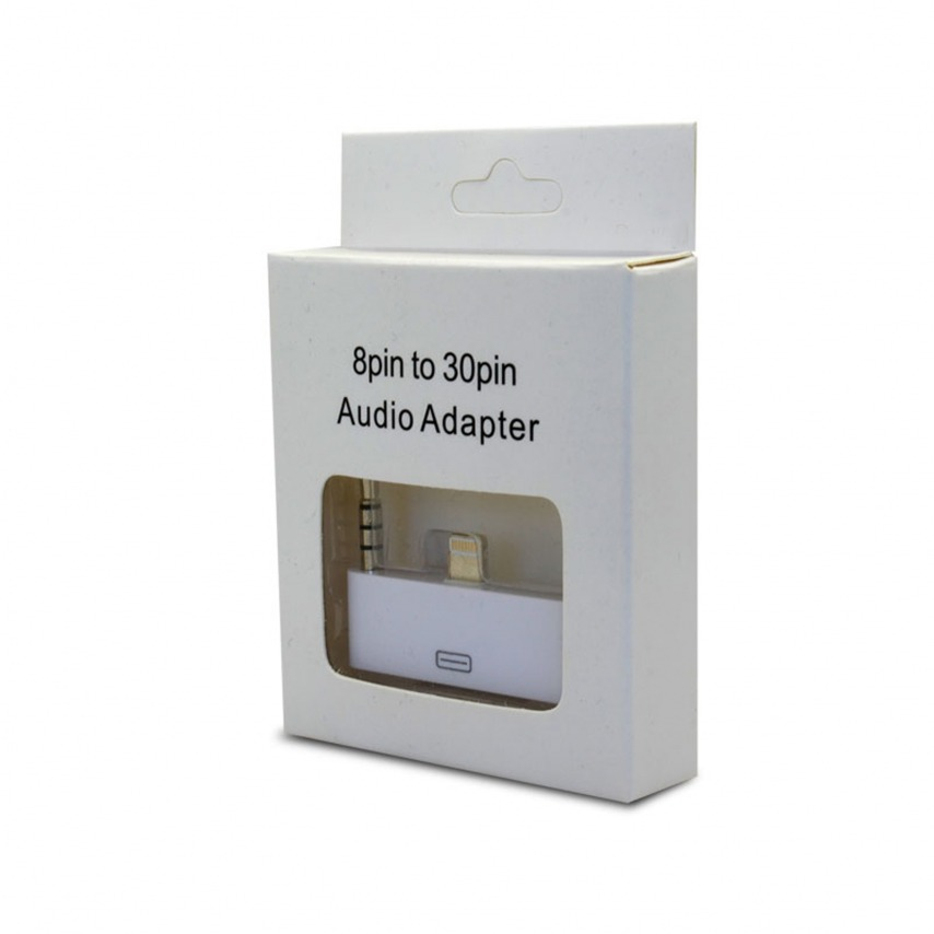 Vue complémentaire de Adaptateur Audio 30 Broches vers 8 pins Blanc Compatible iPhone 5 - iPad Mini - iPad Rétina