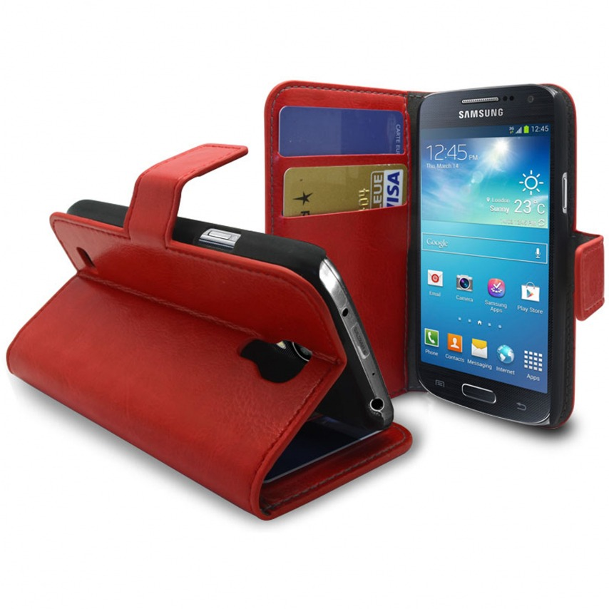Visuel unique de Smart Cover Samsung Galaxy S4 mini Cuirette Marbrée Rouge