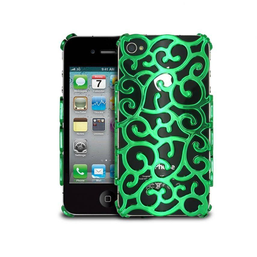 Vue complémentaire de Coque iPhone 4 & 4S Rococo Design Verte