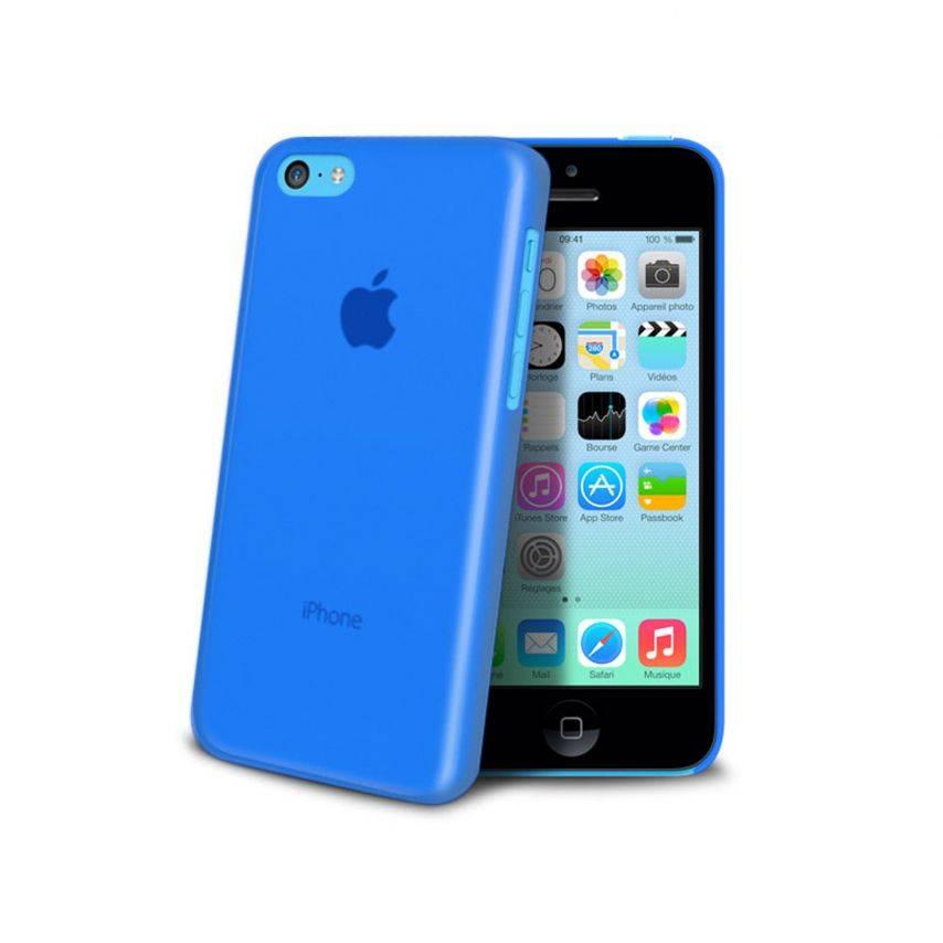 Photo réelle de Coque Ultra Fine 0.3mm Frost iPhone 5C Bleue