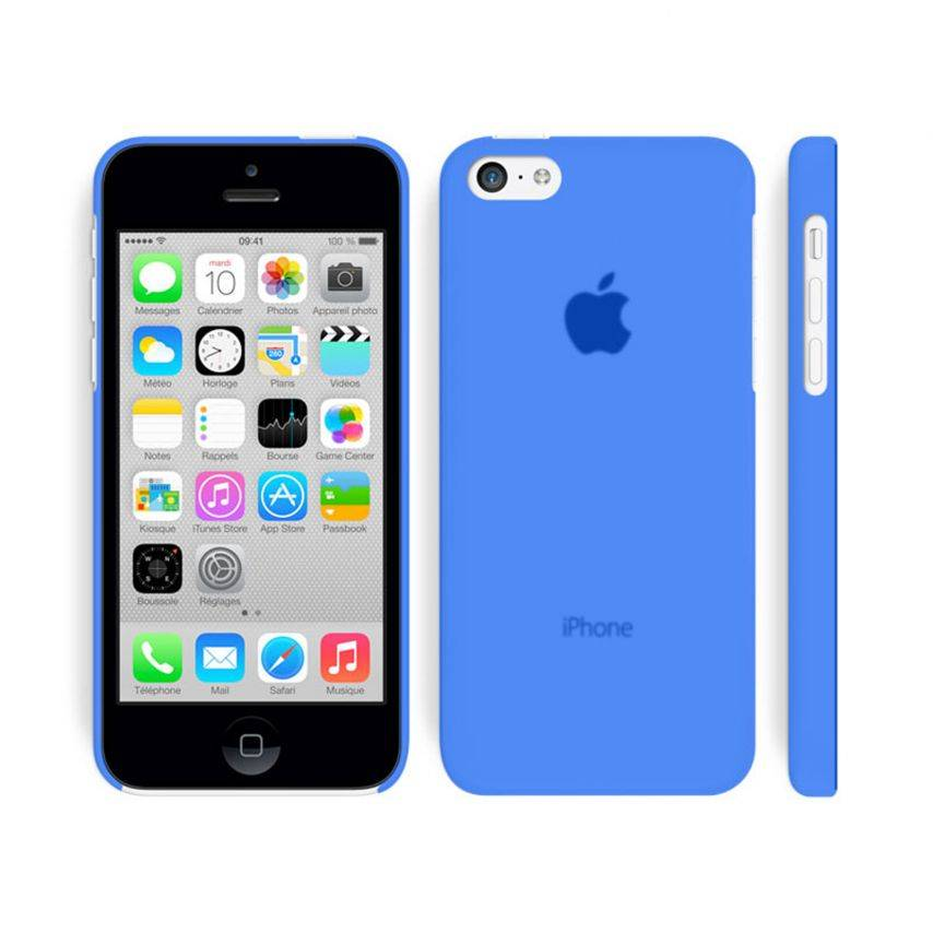 Vue portée de Coque Ultra Fine 0.3mm Frost iPhone 5C Bleue