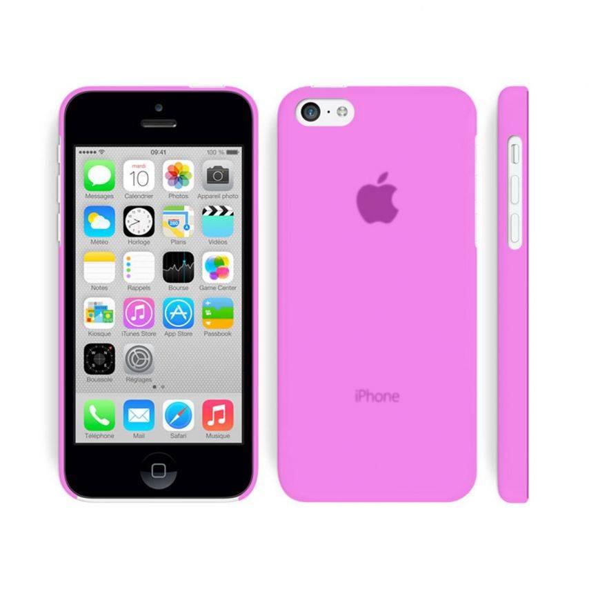 Vue portée de Coque Ultra Fine 0.3mm Frost iPhone 5C Rose