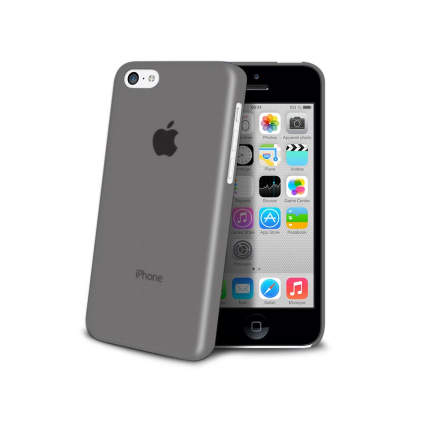 Photo réelle de Coque Ultra Fine 0.3mm Frost iPhone 5C Noire