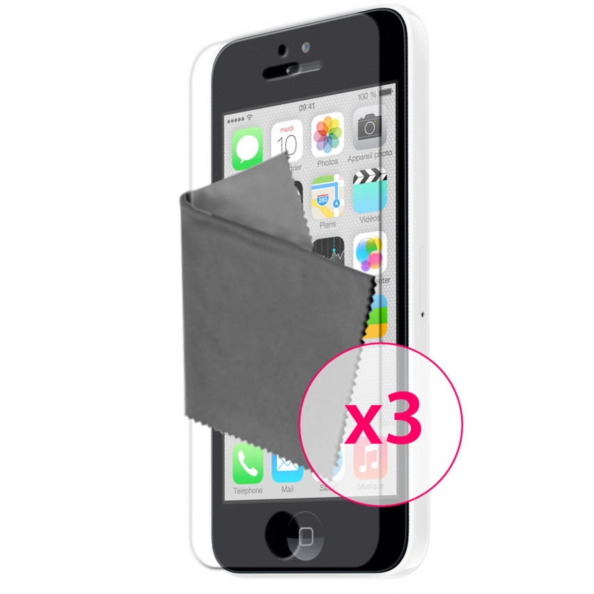 Zoom sur Films de protection anti traces de doigts iPhone 5C Clubcase ® Lot de 3