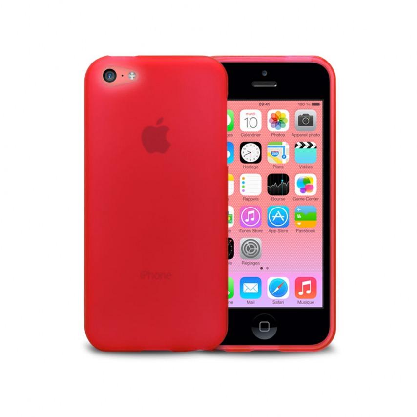 Vue complémentaire de Coque IPhone 5C® Frozen Ice Extra Fine Rouge
