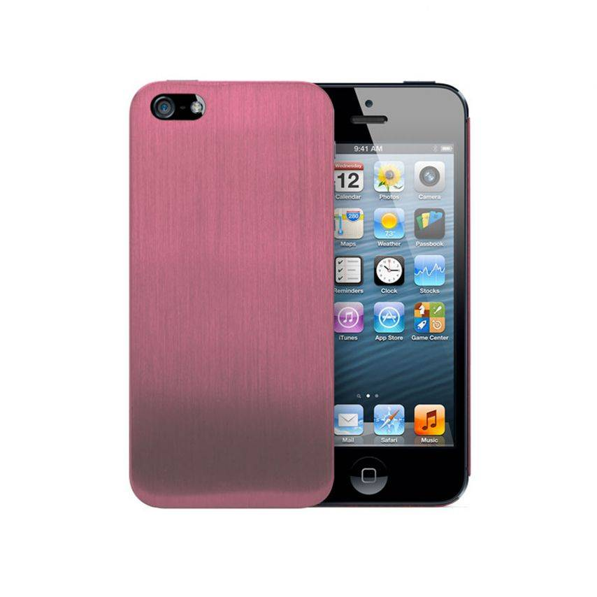 Vue portée de Coque Ultra-Fine 0,3 mm métal brossé Acero iPhone 5 / 5S Rose
