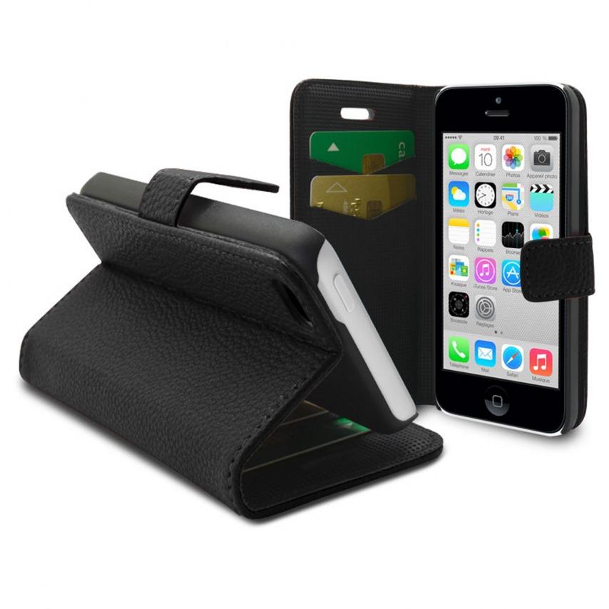 Visuel unique de Smart Cover iPhone 5C Cuirette Pleine Fleur Noire