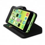 Visuel supplémentaire de Smart Cover iPhone 5C Cuirette Pleine Fleur Noire
