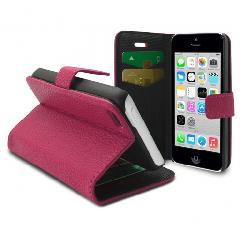 Smart Cover iPhone 5C Cuirette Pleine Fleur Rose