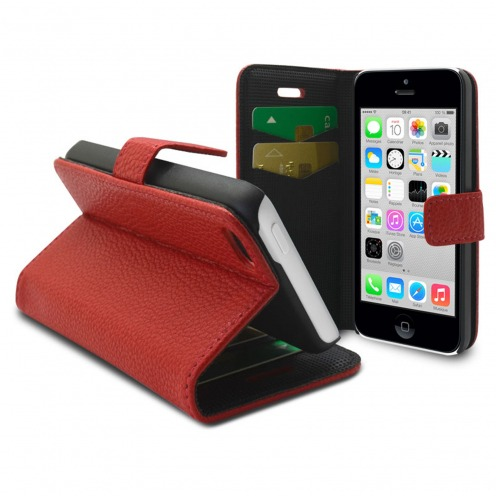 Smart Cover iPhone 5C Cuirette Pleine Fleur Rouge