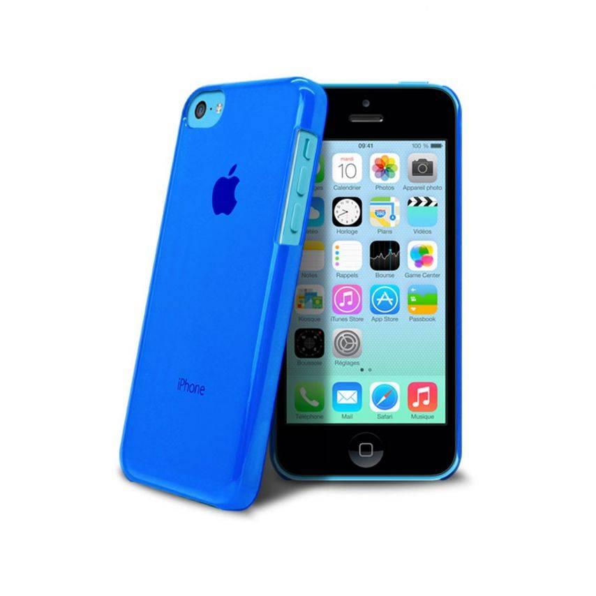 """Vue complémentaire de Coque """"Crystal"""" pour iPhone 5C Bleue"""