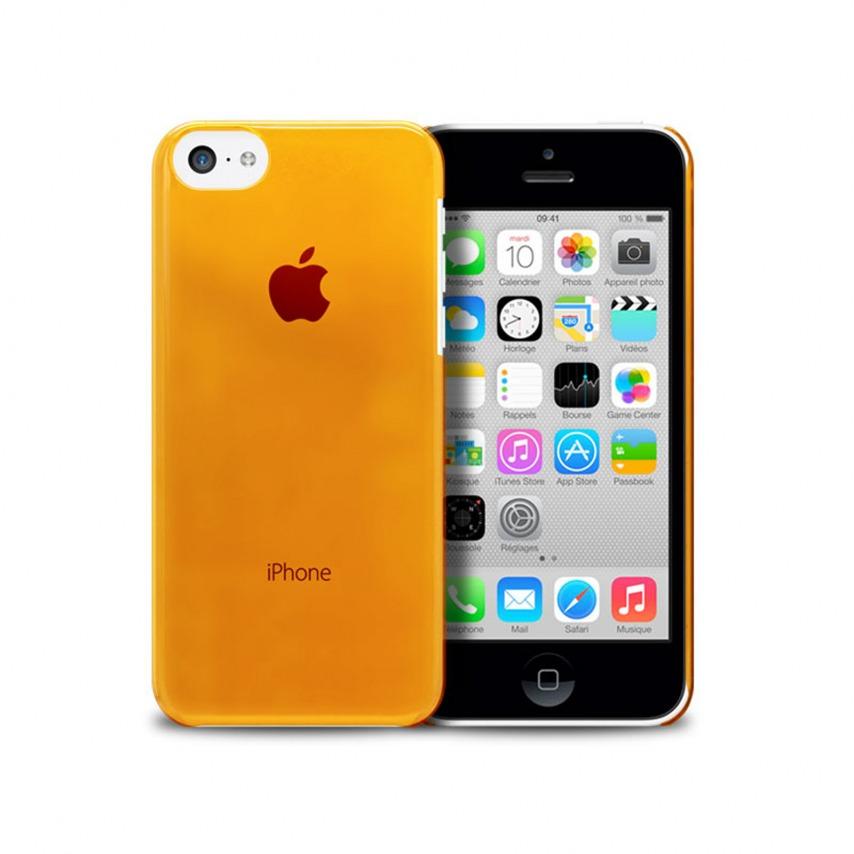 """Vue portée de Coque """"Crystal"""" pour iPhone 5C Orange"""