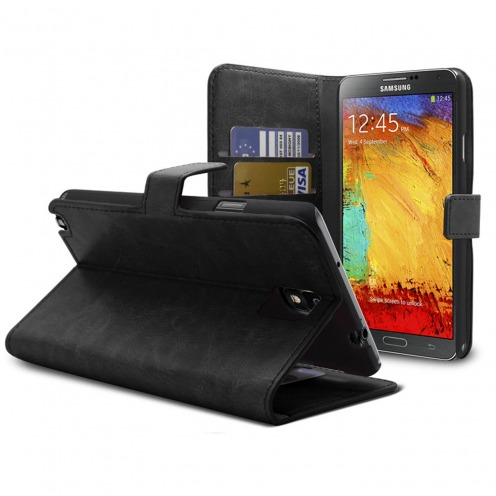 Smart Cover Samsung Galaxy Note 3 Cuirette Marbrée Noire