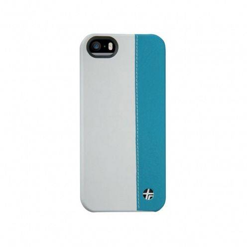 Coque cuir véritable Trexta® Duo bi-matière Blanc & Turquoise iPhone 5 / 5S / SE