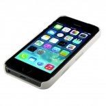 Vue complémentaire de Coque cuir véritable Trexta® Duo bi-matière Blanc & Turquoise iPhone 5 / 5S