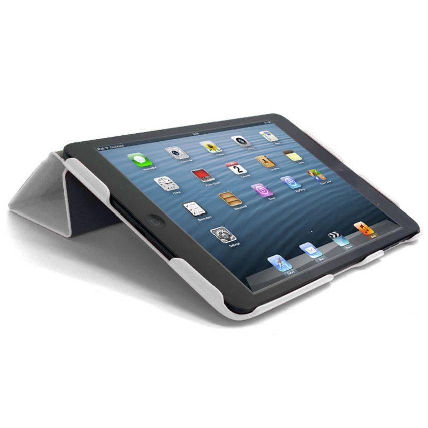 Photo réelle de Smart Cover Ultra Slim Stand 96G iPad Mini Cuir Eco Blanche
