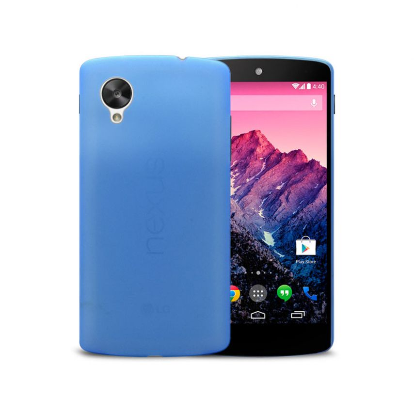 Photo réelle de Coque Ultra Fine 0.3mm Frost Google Nexus 5 Bleue