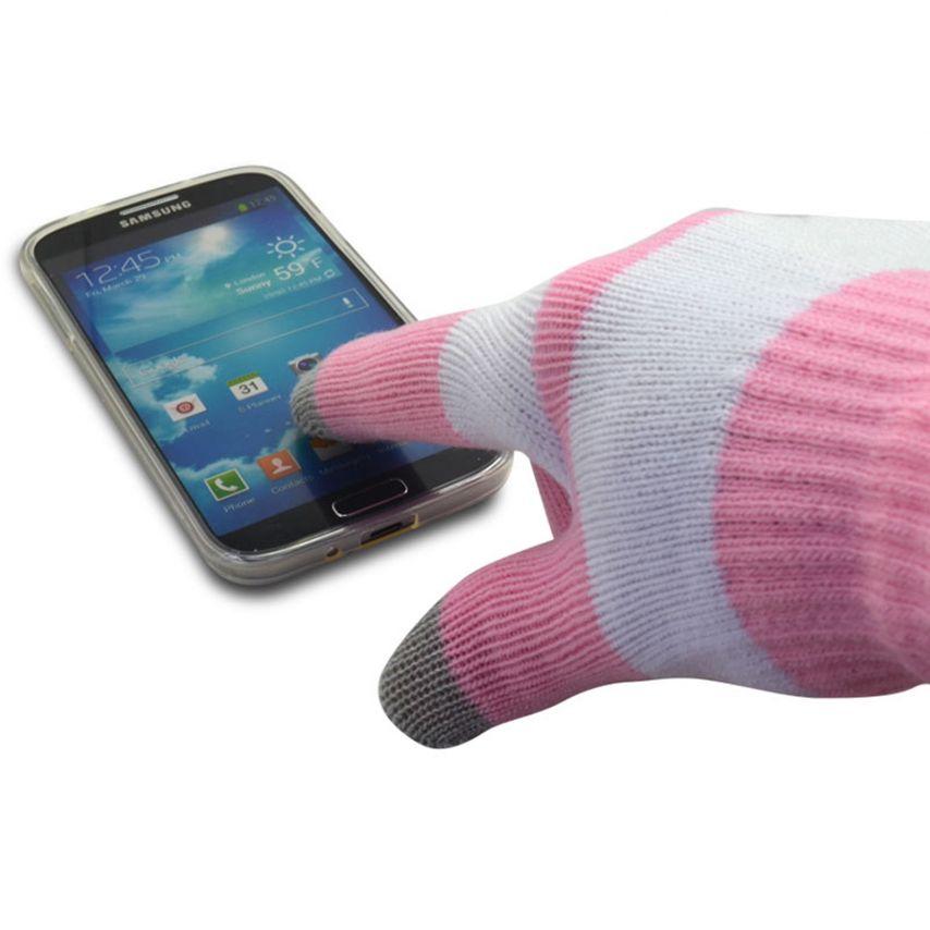 Visuel supplémentaire de iTouch - Gants tactiles spécial iPhone Rose & Blanc - Taille S