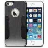 Vue portée de Coque iPhone 5S / 5 Aluminium Chrome COLORS BRUSH Argentée