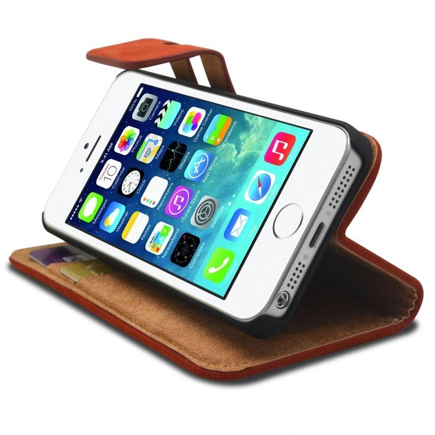 Vue complémentaire de Smart Cover iPhone 5/5S finition Daim Amarante