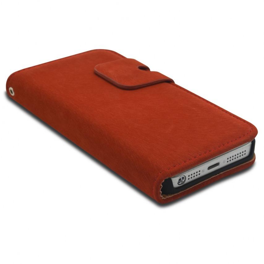 Vue portée de Smart Cover iPhone 5/5S finition Daim Amarante
