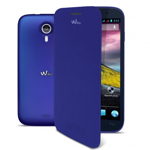 Visuel unique de Wiko Cink Five Folio Back Cover officielle Bleue