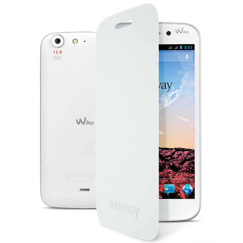 Zoom sur Wiko Stairway Folio Back Cover officielle Blanche