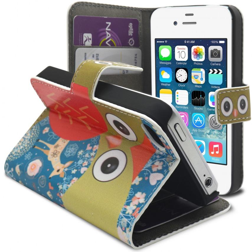 Vue complémentaire de Smart Cover iPhone 4/4S à motif Hibou & Biche
