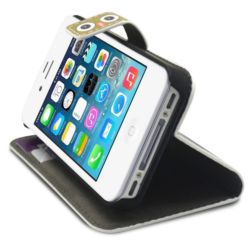Photo réelle de Smart Cover iPhone 4/4S à motif Hibou & Biche