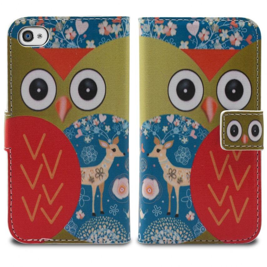 Vue portée de Smart Cover iPhone 4/4S à motif Hibou & Biche
