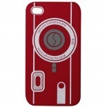 Photo réelle de Housse Silicone Camera Rouge pour iPhone 4S / 4
