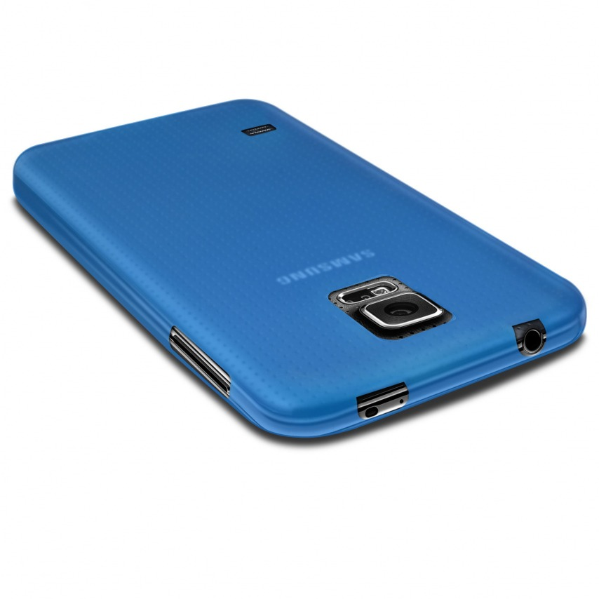 Photo réelle de Coque Ultra Fine 0.3mm Frost Samsung Galaxy S5 bleue