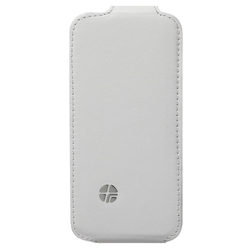 Visuel supplémentaire de Housse cuir véritable à clapet rotative Textra® Flippo blanche iPhone 5 / 5S