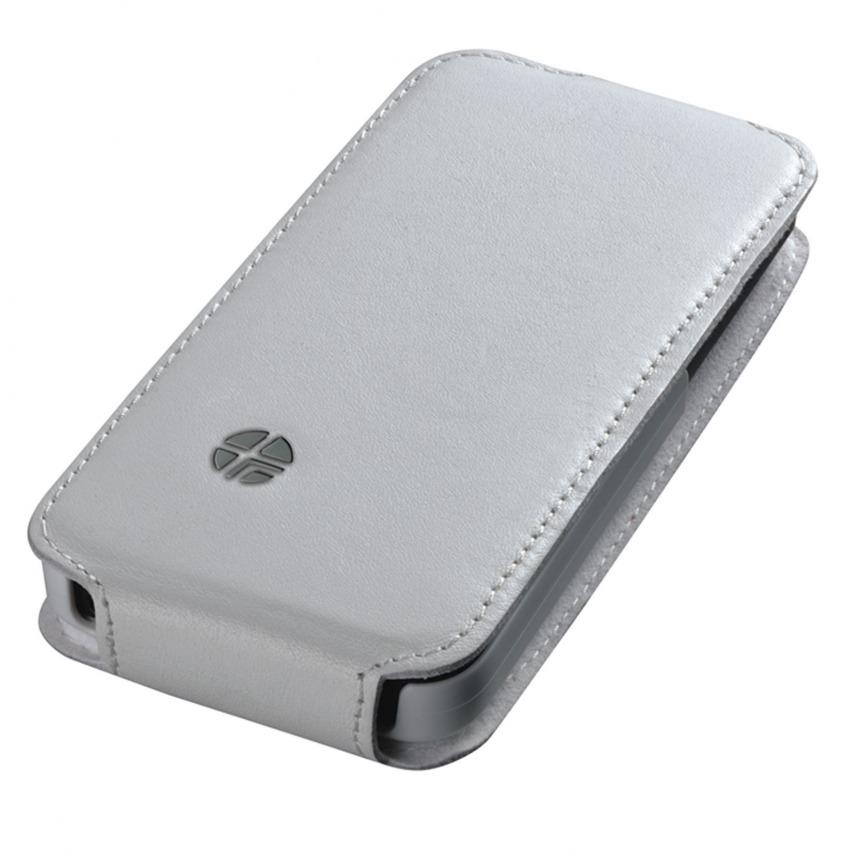 Vue complémentaire de Housse cuir véritable à clapet rotative Textra® Flippo blanche iPhone 5 / 5S