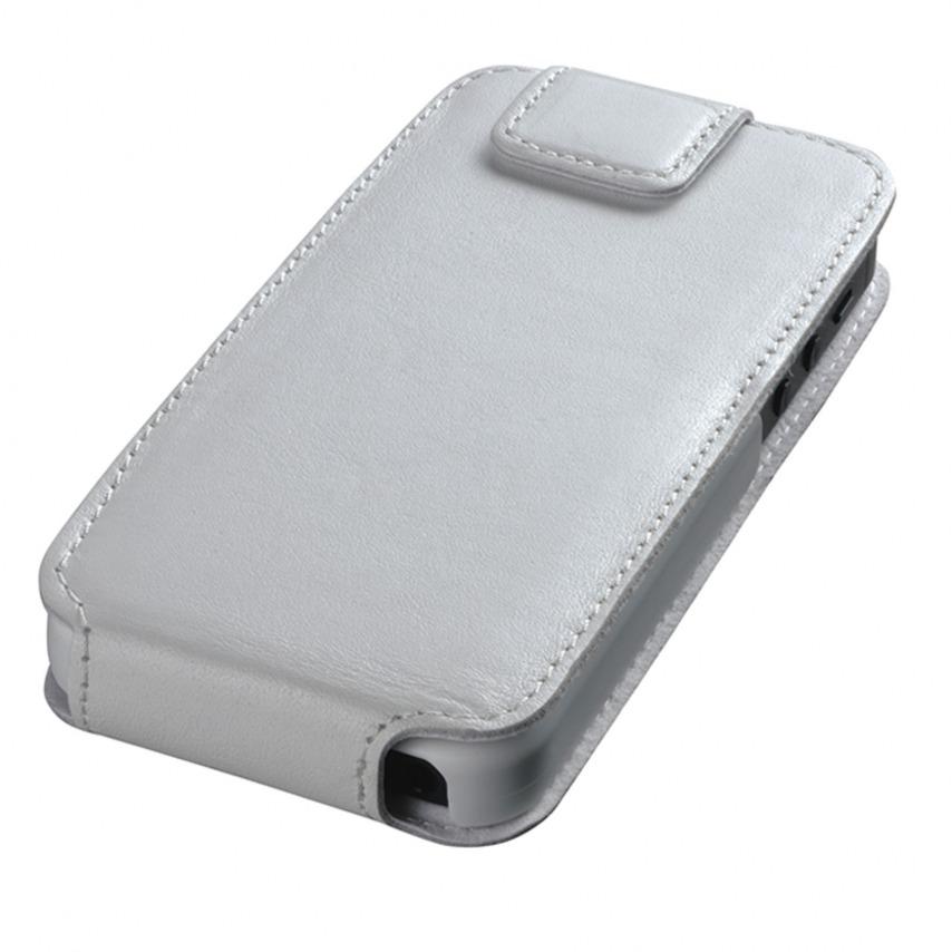Photo réelle de Housse cuir véritable à clapet rotative Textra® Flippo blanche iPhone 5 / 5S