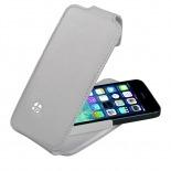Vue portée de Housse cuir véritable à clapet rotative Textra® Flippo blanche iPhone 5 / 5S
