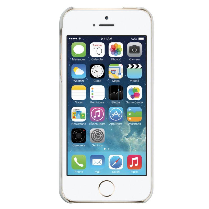 Vue complémentaire de Coque cuir gravé véritable Trexta® Rose Series Blanche iPhone 5 / 5S