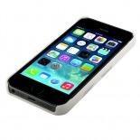 Vue portée de Coque cuir gravé véritable Trexta® Rose Series Blanche iPhone 5 / 5S